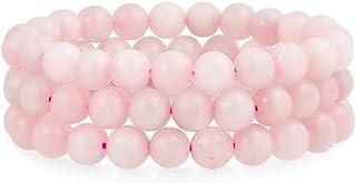 REBUY Rose Quartz Bracelet for Reiki Healing and Crystal Healing Stones for Love, Happiness,Relationship 8 mm Set of 3 Bra...