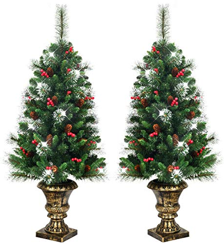 HAPPYGRILL 4FT Christmas Tree Artificial Flocked Entrance Tree with Pine Cones and Red Berries Xmas Tree with Urn Base for Porch Stairs, 2 Pieces