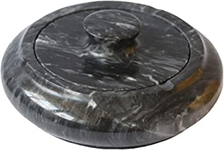 Gnirue Simple Living Room Coffee Table Natural Marble Ashtray with Lid (Marble)