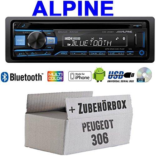 Autoradio Radio Alpine CDE-203BT Bluetooth CD USB MP3 1-DIN Auto Einbauzubehör - Einbauset für Peugeot 306 - JUST SOUND best choice for caraudio