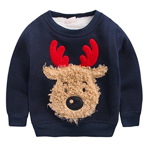 Happy Cherry Jungen Pullover Kids Warme Sweatshirt Streetwear Oberbekleidung, Jungen,für Körpergröße 90-130cm (Dunkelblau, Empfehlende Körpergröße: 90-95cm)