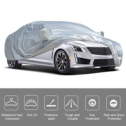 VISLONE Copriauto Telo Auto, Copriauto Impermeabile e Pieghevole, Copriauto Anti UV Anti Pioggia, Protezione da Pioggia e Neve, Protezione Solare (4.15 * 1.7 * 1.5m)