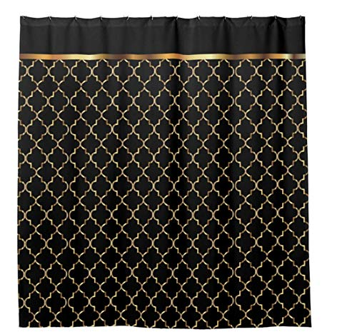 "Shower Curtains with 12 Hooks Elegant Black and Gold Quatrefoil Patterns Bathroom Curtain 72"" x 72"""