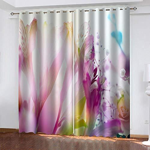 LucaSng Colore tende oscuranti per finestre cameretta Fiori tende oscuranti per interni 2 pezzi 3D motivo tenda oscurante con occhielli per Finestra Interni 91.5x214 cm