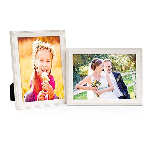 PHOTOLINI 2er Set Landhaus-Bilderrahmen 13x18 cm Weiss Massivholz mit Glasscheibe und Zubehör/zum Stellen oder Hängen/Fotorahmen
