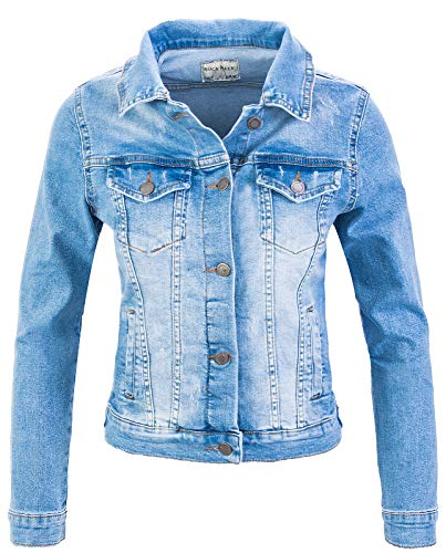 Rock Creek Giacca Jeans Donna Giacca Transition Denim Blouson Stretch Short Giacca Classica Denim Urban Stonewash D-401 Sky Blue XXL