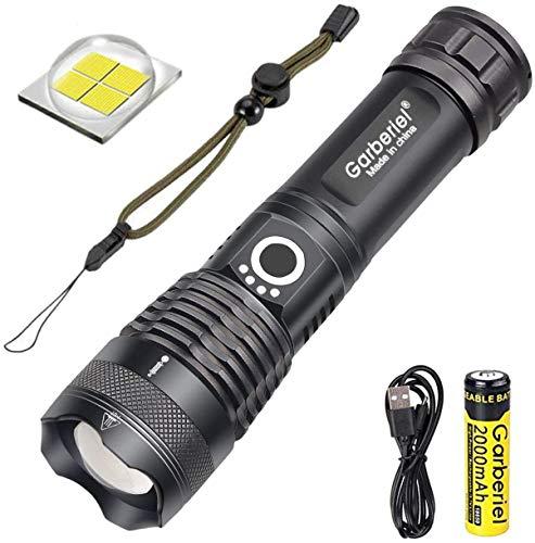 WholeFire Linterna LED XHP70 Alta Potencia Super Brillante 6000 Lúmenes, Recargable USB Militar Linterna con Zoom y Pantalla de Potencia para Acampar y Deportes al Aire Libre (Batería Incluida)