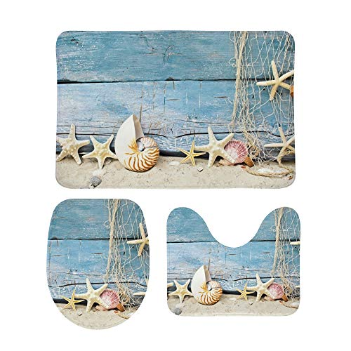 My Daily 3 Piece Bathroom Rug Set Seashells Starfish Beach Maritime Toilet Contour Mat Lid Cover Non-Slip Bath Mat