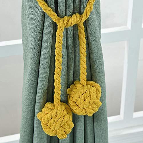 Blusea gordijnhouder voor gordijnen, 1 paar, gordijnhouder, roede, gordijnen, met dubbele ballen geel