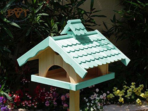 Vogelhaus, groß, BEL-X-VONI5-LOTUS-LEFA-türkis002 Großes wetterfestes PREMIUM Vogelhaus mit wasserabweisender LOTUS-BESCHICHTUNG VOGELFUTTERHAUS + Nistkasten 100% KOMBI MIT NISTHILFE für Vögel WETTERFEST, QUALITÄTS-SCHREINERARBEIT-aus 100% Vollholz, Holz Futterhaus für Vögel, MIT FUTTERSCHACHT Futtervorrat, Vogelfutter-Station Farbe türkis ANTIKBLAU meeresblau blau-grün / natur, MIT TIEFEM WETTERSCHUTZ-DACH