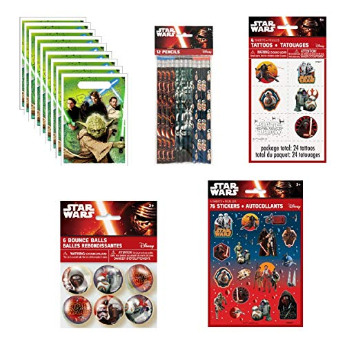 Star Wars Birthday Party Favor Bundle includes Loot Bags, Pencils, Tattoos, Stickers, Bounce Balls