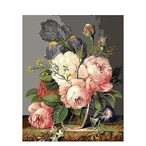 ZXDA Fai da Te Dipingi con i Numeri Fiori su Tela Disegno Figura Colore Pittura a Olio Dipinto a Mano Immagine Artistica Home Decor Regalo A22 50x65 cm