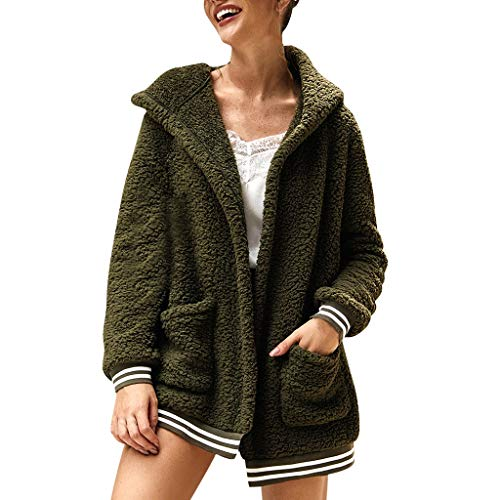 WUAI-Women Oversized Open Front Fuzzy Fleece Hooded Cardigan Coat Casual Loose Sherpa Pullover Hoodies Jakcets Outwear(Army Green,Small)