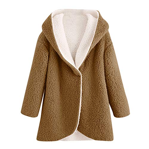 Auifor Dames Winter Curved Hem Longline Kunstbontsherpa Fleece Hoodie Coat