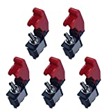ESUPPORT 12V 20A Red Cover Rocker Toggle Switch SPST ON/Off Car Truck Boat 2Pin...