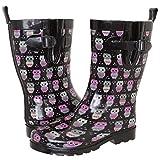 Capelli New York Ladies Shiny Owl Printed Rain Boot Black Combo 10