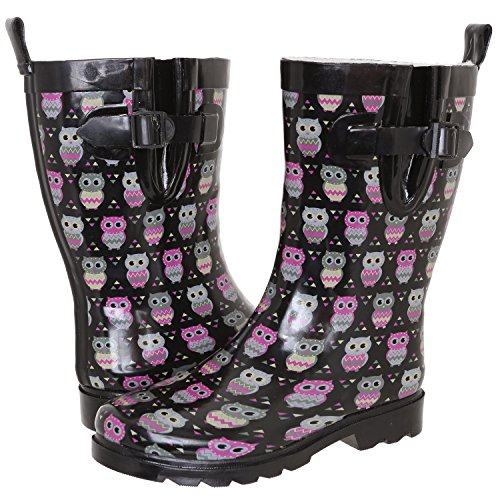 Capelli New York Ladies Shiny Owl Printed Mid-Calf Rain Boot Black Combo 9