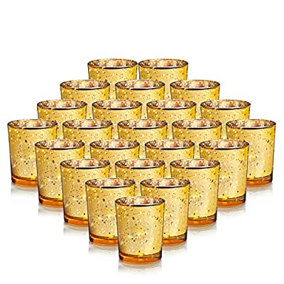"""24-Pack Gold Votive Candle Holders Bulk, Speckled Mercury Tealight Candle Holders Perfect Centerpieces for Home Table , Wedding Prom, Party - 2.67"""" (H)"""