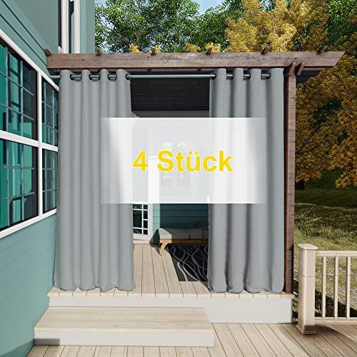 Clothink Outdoor Vorhänge Aussenvorhang Garten Verdunkelung Outdoor Gardinen 132x215cm (B x H) 4Stück Grau Blickdicht Winddicht Wasserabweisend Sichtschutz Sonnenschutz UVschutz