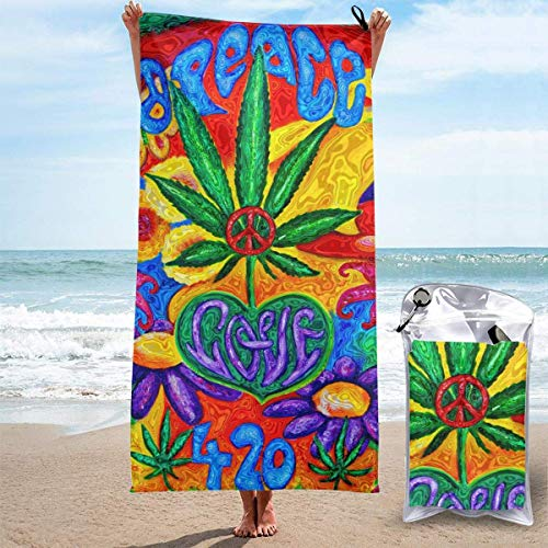 hotspu Microfibre Towel Lightweight Travel Beach Towel | Extra Large Quick Drying Camping Towel Premium Gym Towels for Swimming Yoga | Highly Absorbent Fast Dry | Love and Peace Painting