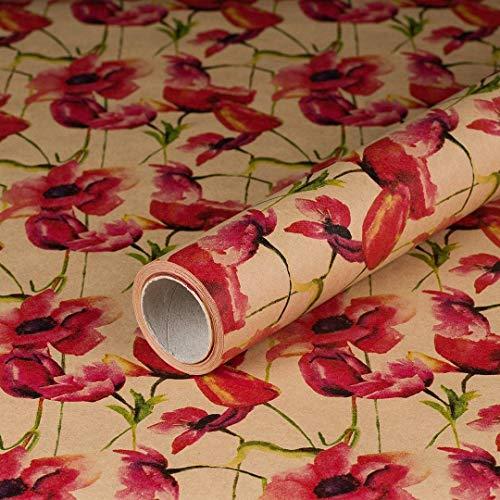 Geschenkpapier Mohnblüten, Kraftpapier, glatt, 60 g/m², Geburtstagspapier, Vintage - 1 Rolle 0,7 x 10 m