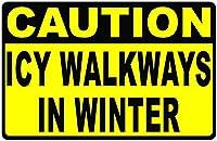 注意ICY条件は慎重に運転してください メタルポスタレトロなポスタ安全標識壁パネル ティンサイン注意看板壁掛けプレート警告サイン絵図ショップ食料品ショッピングモールパーキングバークラブカフェレストラントイレ公共の場ギフト