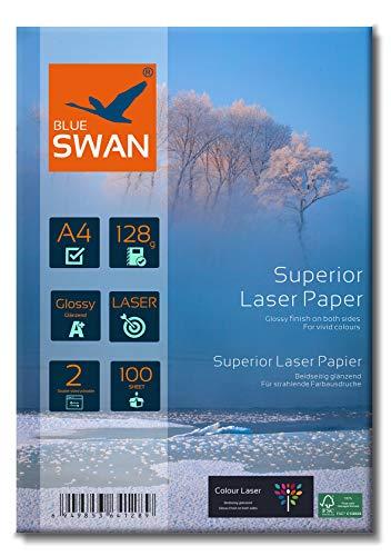BLUE SWAN 200 Blatt A4 Superior Colour Laser Fotopapier Flyer Papier, 128g/qm, Glossy,glaenzend, beidseitig bedruckbar, Fuer allen normalen Farblaserdruckern Kopierern (A4 128g)