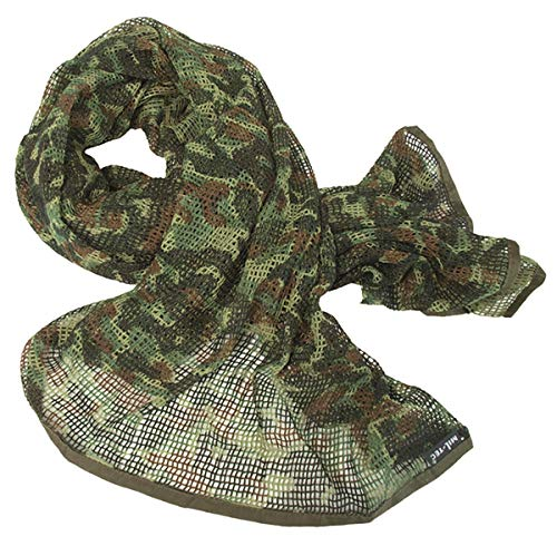 Tactical Camo Pattern Military Netting Scarf - Army Style Scrim Net Patrol Head Wraps with Camouflage Option (Flecktarn)