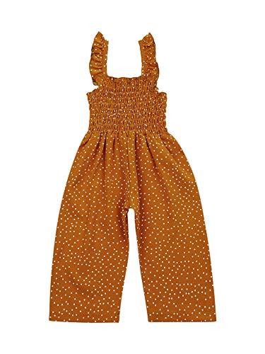Glosun Mono de verano para niña pequeña, con volantes plisados de una sola pieza, pantalones largos, traje