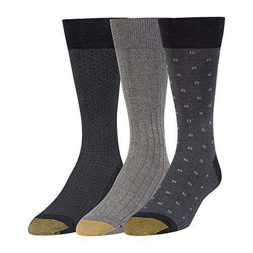 Gold Toe Men's Dress Crew Socks, 3 Pairs, black/charcoal, Shoe Size: 12-16