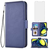 Asuwish Compatible with Samsung Galaxy S6 Wallet Case with Tempered Glass Screen Protector and Leather Flip Cover Card Holder Cell Phone Cases for Glaxay S 6 Gaxaly 6s Galaxies GS6 SM-G920V G920A Blue