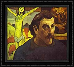Self Portrait with The Yellow Christ 22x20 Black Ornate Wood Framed Canvas Art by Paul Gauguin