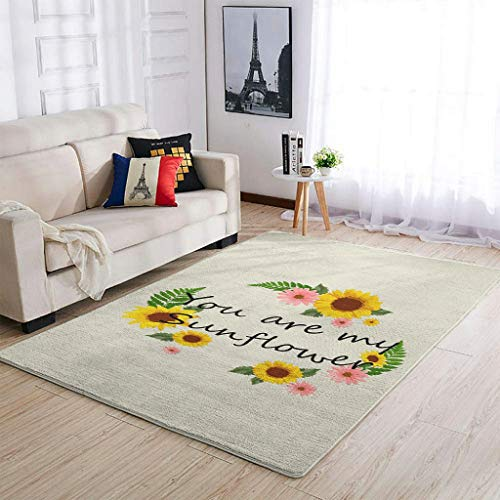 Go Go Grifendoor Alfombra antideslizante y resistente, diseño de girasol, para decoración del salón, color blanco, 122 x 183 cm
