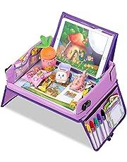 Jojoin Purple Car Play Tray for Kids, Snack & Play Travel Tray met Afneembare Tabletsteun en 2 Zijritsbeschermers Autostoel Activity Tray voor Auto/Wandelwagen/Vliegtuig