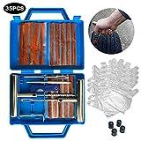 Kit Repara Pinchazos 35 Pcs - Repara Pinchazos Coche - Kit Antipinchazos de Coche para Neumáticos con 15 Tiras – Incluye Guantes Desechables y Tapones de válvulas.