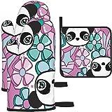 MODORSAN Guantes de Horno y ollas con Forma de Flor de Panda, Antideslizantes, Resistentes al Calor, para Horno de Cocina, para cocinar, Hornear, Asar a la Parrilla, Barbacoa