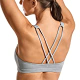 CRZ YOGA Women's Low Impact Wirefree Padded Yoga Sports Bra Strappy Back Activewear for Women Heather Multi 3-H101 Small