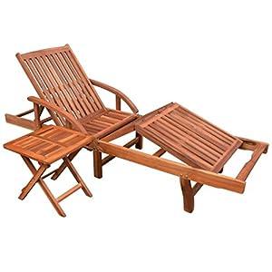 Tidyard Verstellbare Sonnenliege Holz mit Klapptisch und 2 Rädern, Gartenliege Relaxliege Liegestuhl für Garten Terrasse…