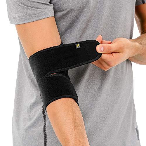 BRACOO ES10 Ellenbogenbandage - Bandage Ellenbogen - atmungsaktive Ellenbogenstütze mit Klettverschluss für Damen und Herren - schwarz