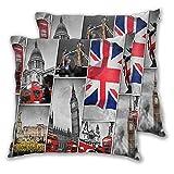 BROWCIN 2 Pack Funda de Almohada Collage De Los Símbolos De Londres Reino Unido. Lino Suave Cuadrado Sofá Cama Decoración Hogar para Cojín 30cm x 30cm