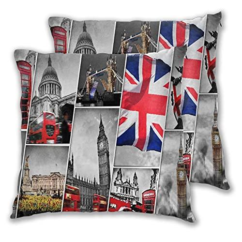 BROWCIN 2 Pack Funda de Almohada Collage De Los Símbolos De Londres Reino Unido. Lino Suave Cuadrado Sofá Cama Decoración Hogar para Cojín 45cm x 45cm