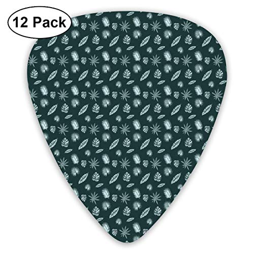Guitar Picks - Abstract Art Colorful Designs,Abstract Style Palm Split Leaf Philodendron Aralia Leaf Pattern,Unique Guitar Gift,For Bass Electric & Acoustic Guitars-12 Pack