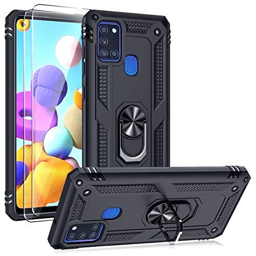 Oududianzi Funda para Samsung Galaxy A21s Estuche y 2 Protectores de Pantalla de Vidrio Templado, Soporte para Anillo TPU Protector de Grado Militar + PC Armadura Resistente a Prueba de Golpes-Negro