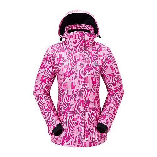CXJC Ski-jack voor dames, warm houden, dik, waterdicht, winddicht, ademend, koudebescherming, tweedelig, bretels, skibroek met capuchon, outdoor, uniek in meerdere kleuren