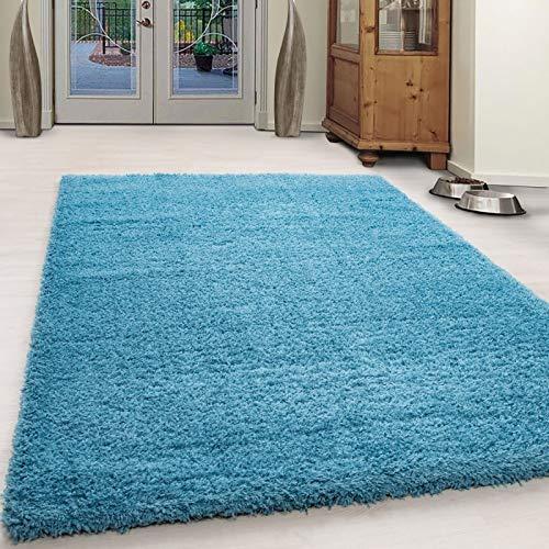 Designer Teppich Uni Hochflor Einfarbig Türkis Flauschig Kuschelig Shaggy Blau Wohnzimmer Schlafzimmer Esszimmer Modern Preishammer Günstig (240 x 340 cm)