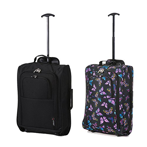 Set of 2 Super Lightweight Cabin Approved Luggage Travel Wheely Suitcase Wheeled Bags (Black + Navy Butterflies)