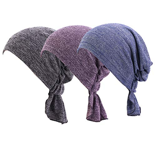 Ever Fairy 3 Farben Packung gebunden Kopf Schal Hut ethnisch Aufdruck Turban Kopfbedeckung Damen Stretch Blume Muslime Kopftuch - 3 Stück H, One Size