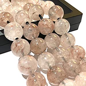 """[ABCgems]""""2.5mm Large Hole"""" Madagascan Strawberry Hematoid Quartz (Translucent with Beautiful Inclusions) 12mm Smooth Round Beads. Approx 8 Inches"""