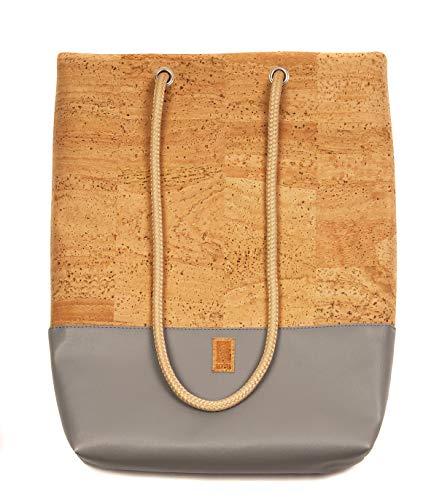 HENTIES Lerke Designer Rucksackhandtasche – Damen Handtasche aus Kork auch als Rucksack oder Umhängetasche tragbar – Handmade in Deutschland und 100% Vegan (Grey)