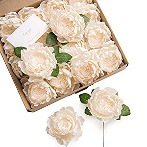 """Silk Flower Arrangements Ling's moment Real Looking Fake 4"""" Peony Artificial Peonies Flowers w/Stem for DIY Wedding Bouquets Centerpieces Arrangements Party Baby Shower Home Decorations"""